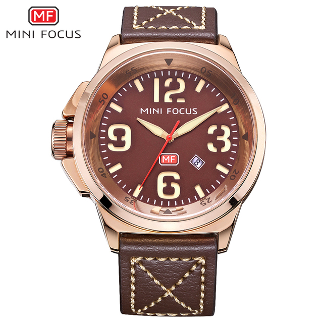 MINI FOCUS Men Watches Top Brand Luxury Quartz Watch Green Genuine Leather Strap Calendar Arabic Number Left-handed montre homme