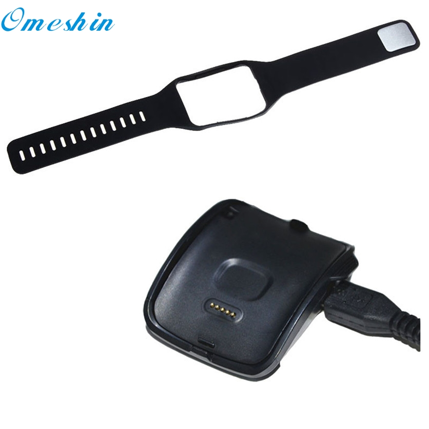 OMESHIN SimpleStone Charging Cradle Dock + Replace wristbands for Samsung Gear S Smart Watch SM-R750 June17