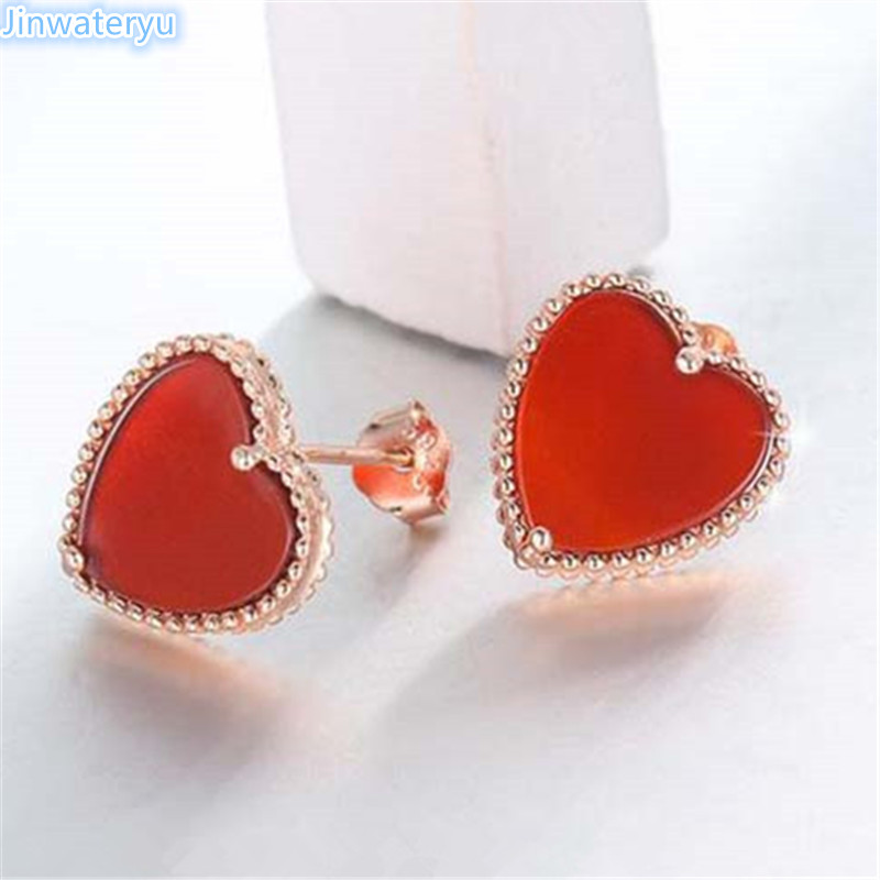 Jinwateryu Fashion Jewelry 925 Sterling Silver Stud Earrings Heart Red Colour For Women S In From