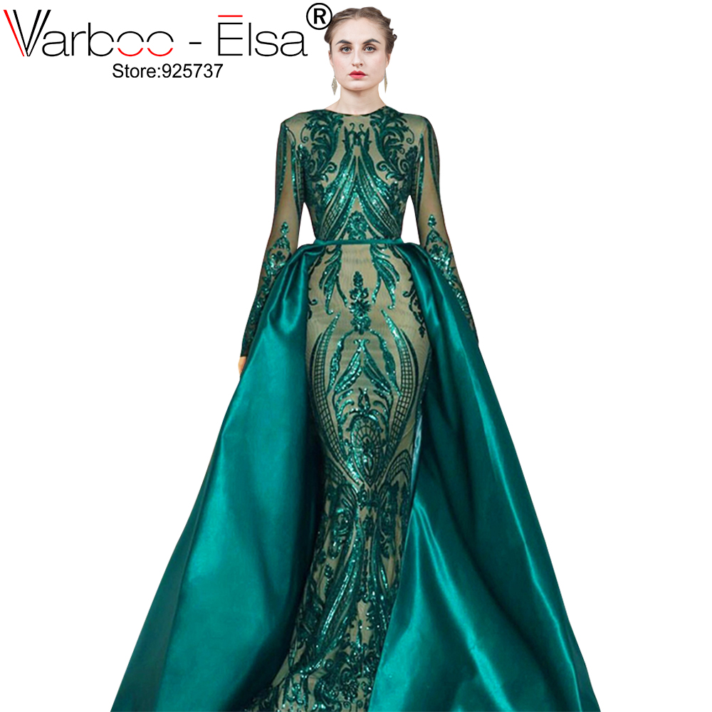 VARBOO_ELSA Robe De Soiree Longue 2019 Detachable Skirt green Evening Dresses Long sleeves Sequin Applique Arabic Evening Gown pocket