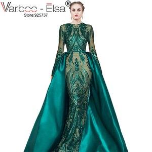 Image 1 - VARBOO_ELSA Robe De Soiree Longue 2019 Abnehmbare Rock grün Abendkleider mit Langen ärmeln Pailletten Applique Arabisch Abendkleid