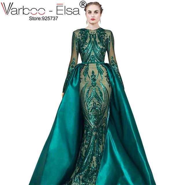 VARBOO_ELSA Robe De Soiree Longue 2019 Abnehmbare Rock grün Abendkleider mit Langen ärmeln Pailletten Applique Arabisch Abendkleid