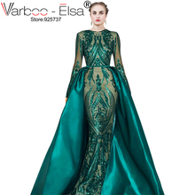 VARBOO_ELSA Robe De Soiree Longue 2019 Detachable Skirt green Evening Dresses Long sleeves Sequin Applique Arabic Evening Gown