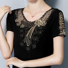 4XL Plus Size Women's shirt Fashion Short Sleeve Summer Tops Elegant Slim Embroidered Diamond T-Shirt Lady Tees Blusas