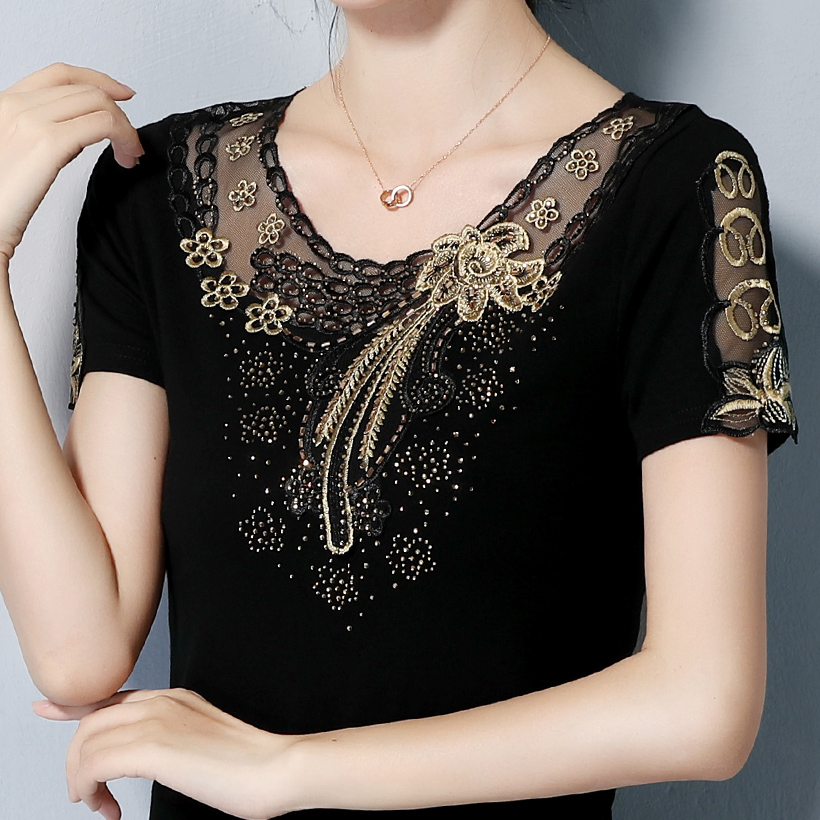 4XL plus size Women's   shirt   Fashion short sleeve summer tops   shirt   Elegant Slim Embroidered Diamond women   blouse     shirt