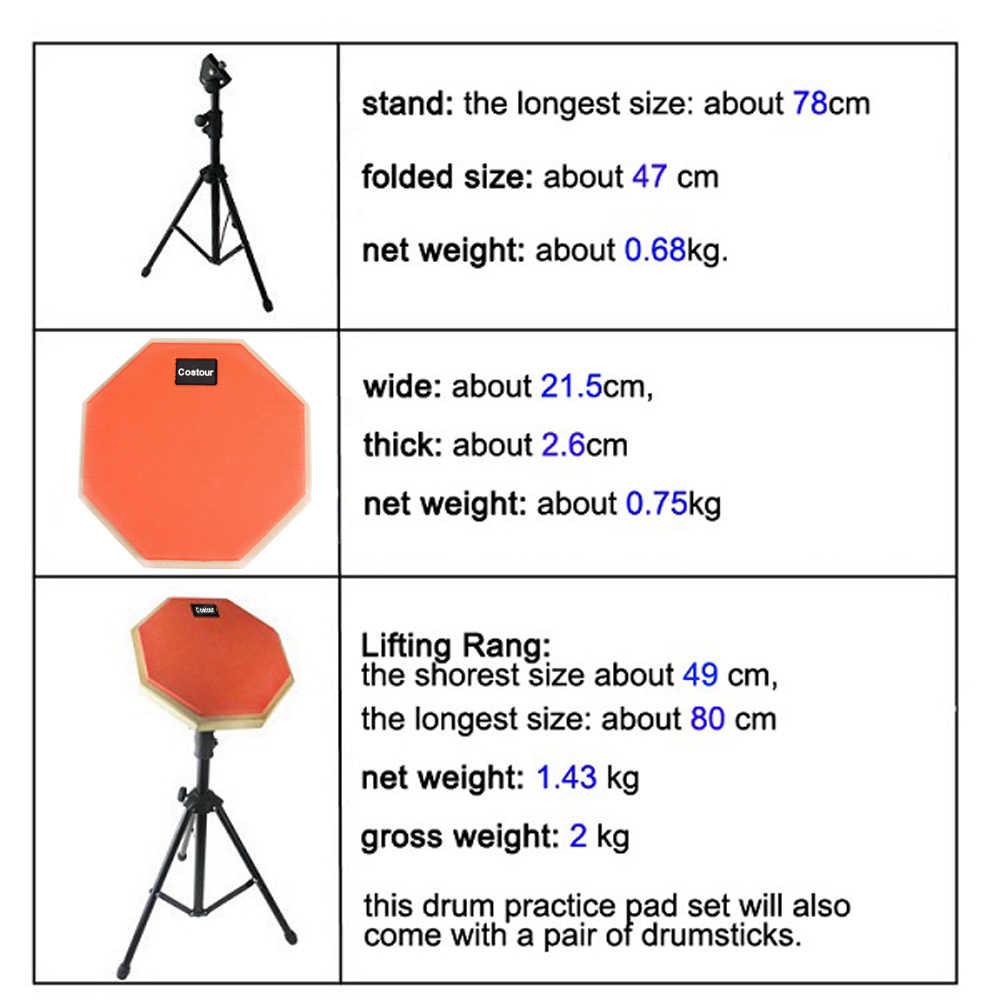 8 ''למתחילים להתאמן בשקט תוף רפידות עם Stand תיפוף התאמן Dumpad סט עבור מתופפים מתנה 1 זוג מקלות תיפוף D