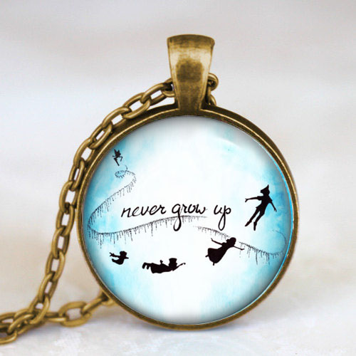 Drama Peter pan never grow up Steampunk Pendant new hero Necklace charms chain 1pcs/lot mens dr who womens man fashion 2017 toy