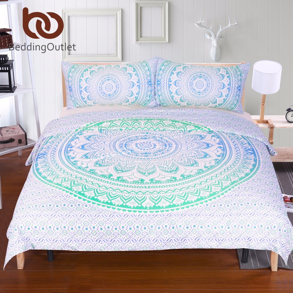 Beddingoutlet blue and green mandala flower duvet cover set with pillowcase bohemia bedding set - Blue and green bedding sets ...