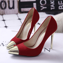 2016 New Spring Fall Flock Women's Pumps Pointed Metal Head Fine High-heeled Shoes Red Black Women High Heels Wedding Shoes Z3.5