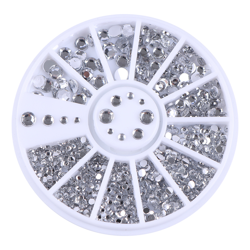 400Pcs Nail Art Stud Silver Round Rhinestone Acrylic UV Gel 1.2mm 2mm 3mm 4mm 3D Nail Decorations in Wheel
