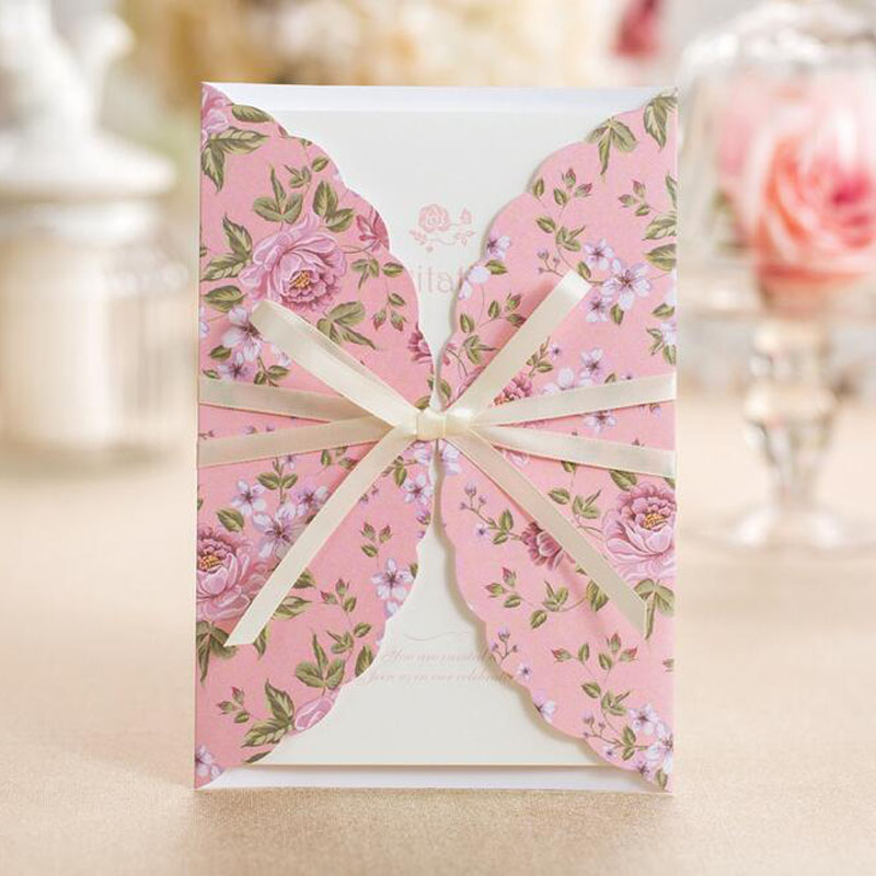 50pcs Pink Flower Pattern Marriage Wedding Invitations Cards Greeting Card 3D Card Laser Cut Postcard Event