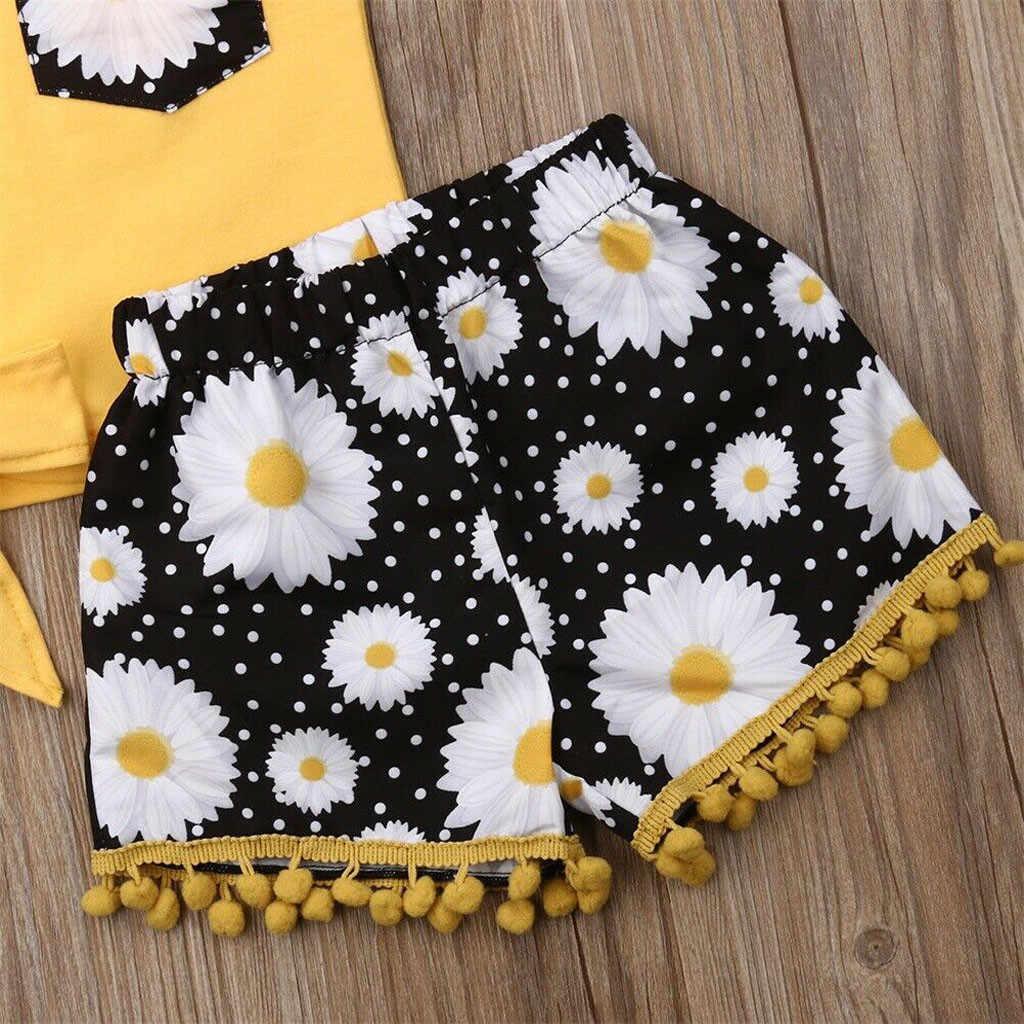 2019 الصيف الفتيات الملابس عباد الشمس القوس بلوزات شرابة السراويل هيرباند طفل رضيع أطقم ملابس للفتيات الأطفال الملابس مجموعة 1 2 3 4 سنوات