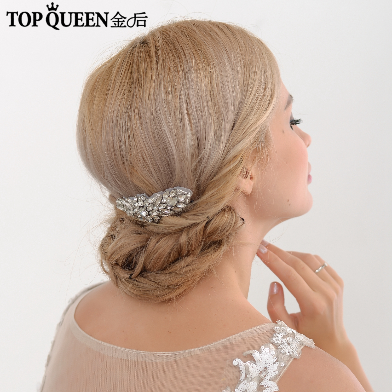 TOPQUEEN H337 Wedding Bridal Hair Jewelry Handmade Flower Rhinestone Beaded Wedding Hair Accessories Hair Comb Bride In Stock