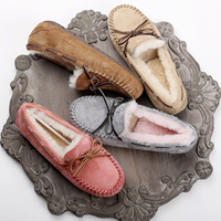 Top brand 100% Natural Fur Genuine Leather Women Flat Shoes New Fashion Women Moccasins Casual Loafers Plus Size Winter shoes
