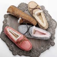 Top brand 100% di Pelliccia Naturale Delle Donne del Cuoio Genuino Scarpe Basse Nuove Donne di Modo Mocassini casual Mocassini Plus Size Inverno scarpe