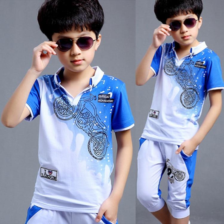 Boys Fashion təsadüfi idman kostyumu geyim dəsti Motosiklet çap - Uşaq geyimləri - Fotoqrafiya 2
