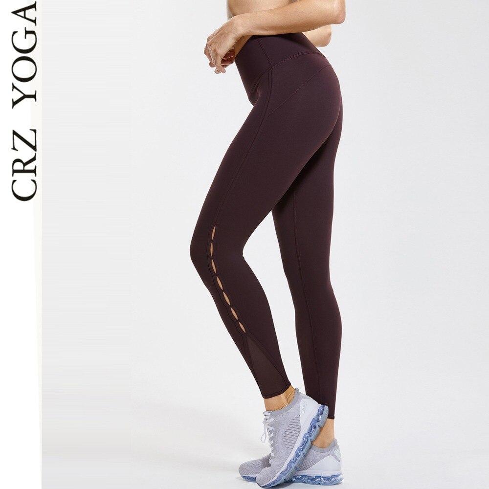 CRZ YOGA Femmes Nu de Sentiment Extensible Taille Haute 7/8 Serré Maille Yoga Leggings