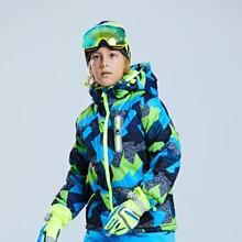 Детская Лыжная куртка утолщенный костюм для мальчиков теплая и морозостойкая Лыжная одежда альпинистское платье для девочек Водонепроницаемая зимняя одежда