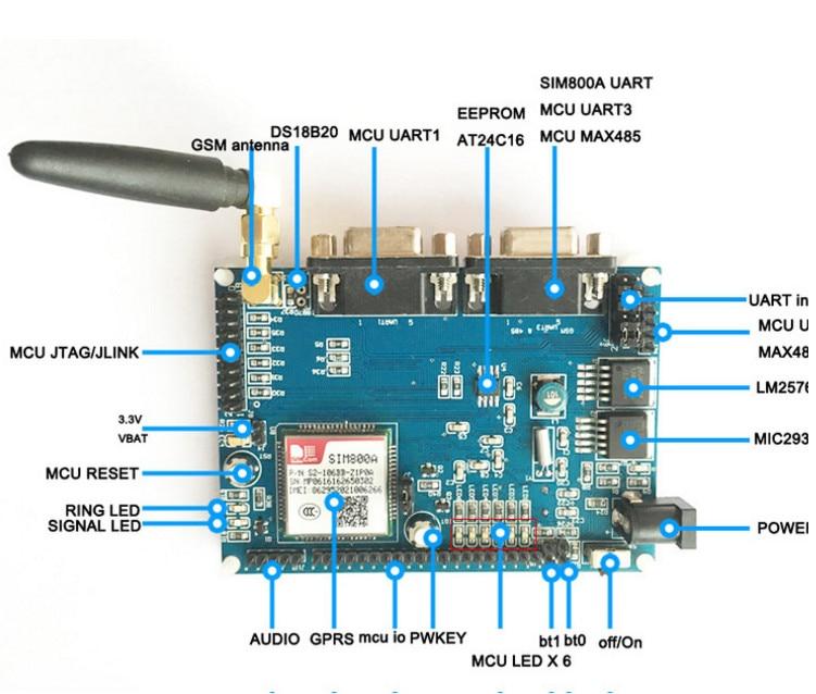Fast Free Ship STM32+SIM800A+EEPROM GPRS Module RTU DTU MCU Development Board Remote Transmission MCU STM32F103RBT6