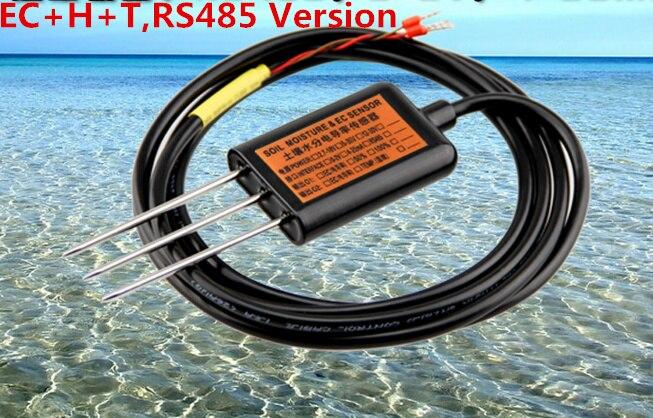 Conductivité électrique du sol, humidité du sol, température du sol, capteur EC + H + T trois en un, capteurs de conductivité du sol RS485 MEC10