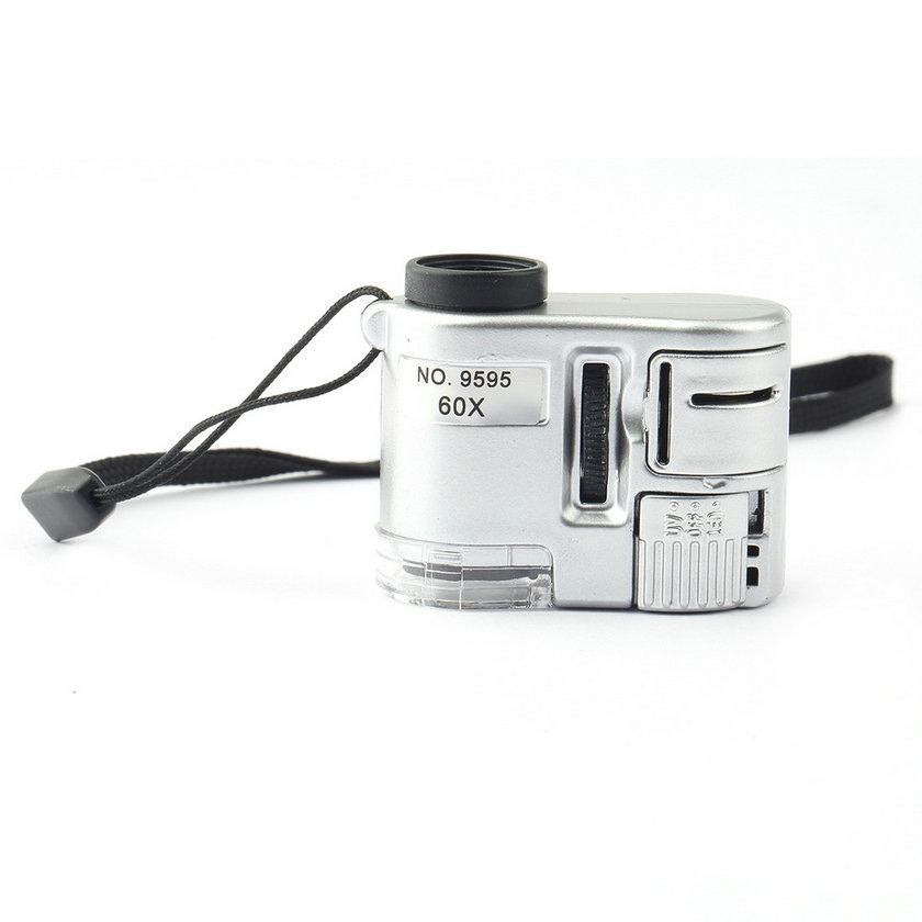 Brand New Mini Lens 60X Pocket Magnifier Microscope With LED Light Jewelry Jeweler Loupe Currency Dectector mini jeweler 60x led uv light pocket microscope jewelry magnifier loupe glass