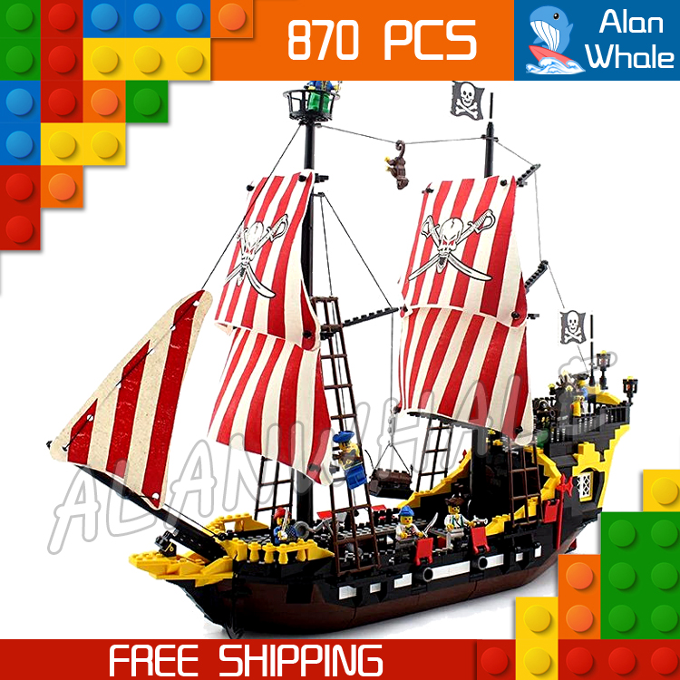 870pcs New Pirates of the Caribbean Brickbeard's Bounty 308 Model Building Blocks Bricks Educational Toys Compatible With Lego pair of delicate heart faux pink crystal earrings for women