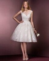 Jark Tozr Spring Summer O Neck Open Back Knee Length Pretty Cute White Appliques Bridal Short