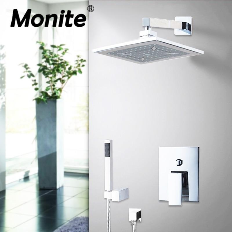 Ceilling Mounted 8 ABS Rainfall Shower Head Hand Shower BathroomBathtub Chrome Basin Sink Shower Set FaucetsMixer Taps