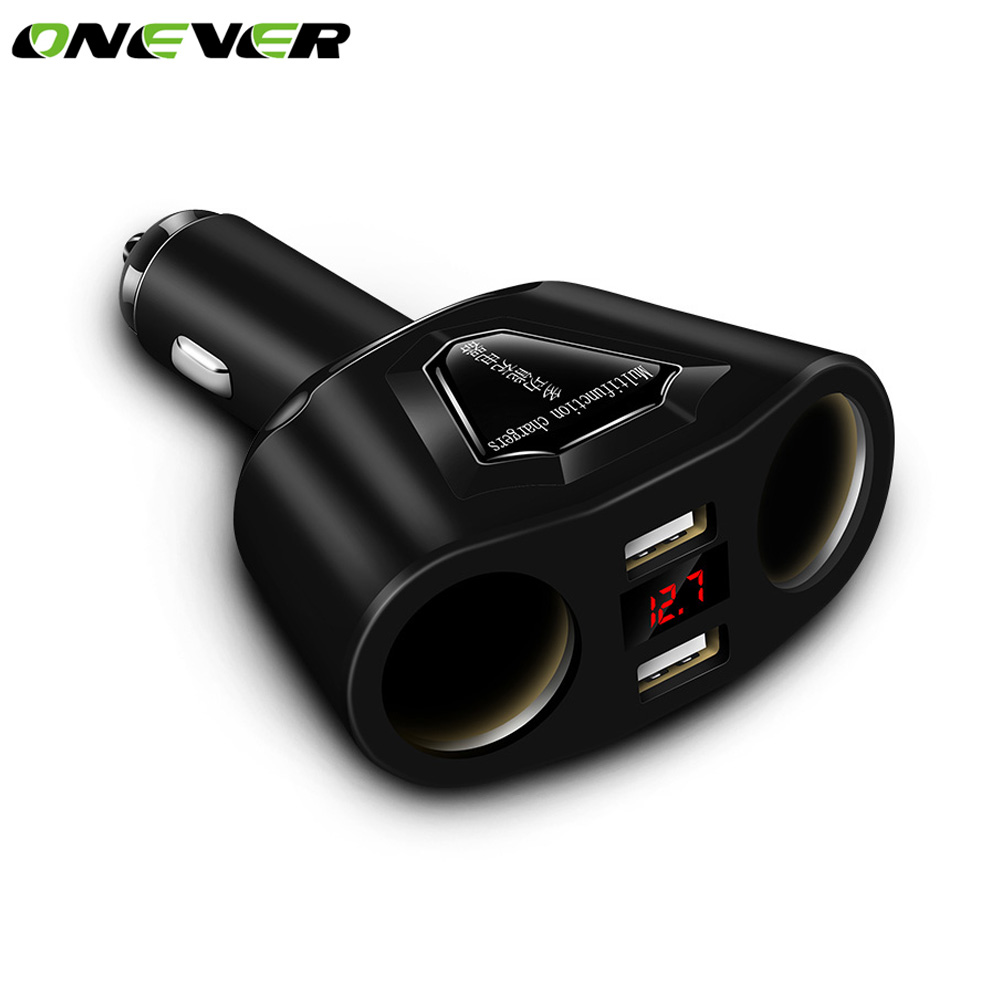 Onever 2 Socket 12V Car Cigarette Lighter Splitter 2 USB Power Socket Adapter Current Voltmeter Dual USB Car Charger For IPhone
