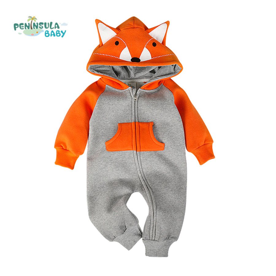 Cotton Baby Rompers Boy Girl Clothes Cartoon Fox Bear 3D Ears Long Sleeve Hooded Jumpsuit Kids Newborn Infant Outwear Outfits 2017 new baby rompers winter thick warm baby girl boy clothing long sleeve hooded jumpsuit kids newborn outwear for 1 3t