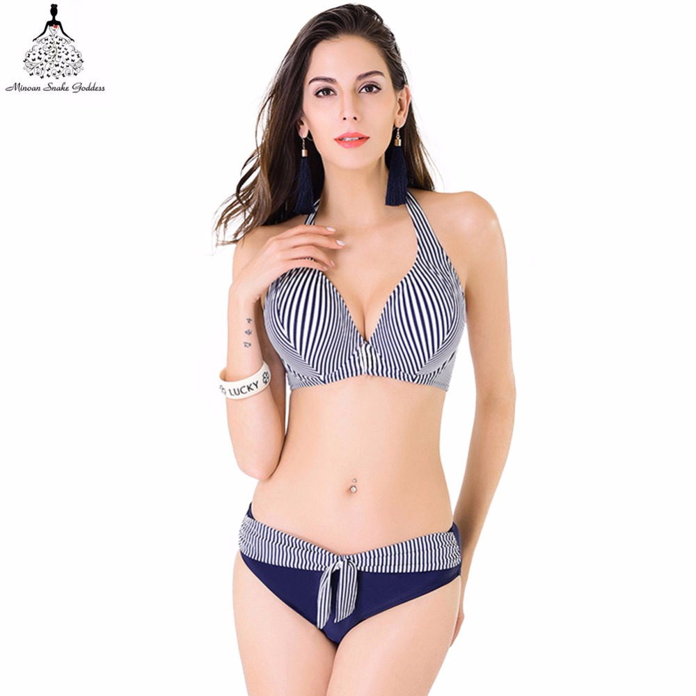 1292f59e55 Bikini female swimwear swimsuit for girls women swimwear blue striped push  up swimwear halter bikini jpg