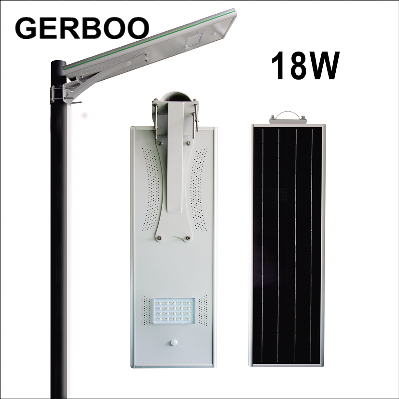 High lumen 18W solar street light all in one for garden Bridgelux COB Solar Street light