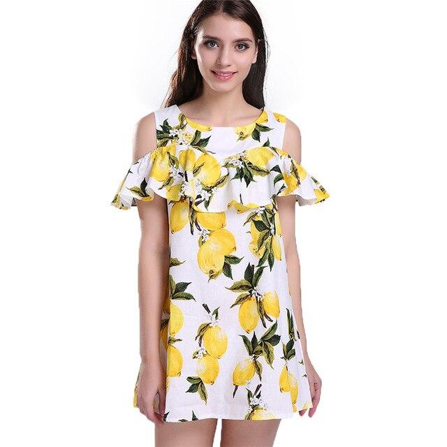 Softu Женщины Цветочный С Плеча Dress Lemon Печати dress Fashion Style Выше Колена Мини O-Neck Dress Летние женские платья