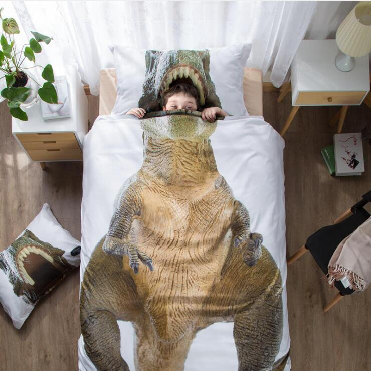 Dinosaur Bedding Set Twin Queen Size Bed Linen 3/4pcs/set Duvet Cover Set Cotton Bed Sheet /fit Sheet Duvet Cover 2019 Bed
