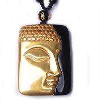 48*35*11mm Beautiful Chinese Natural Black Obsidian Carved Gold Color Buddha Lucky Amulet Pendant + free Necklace