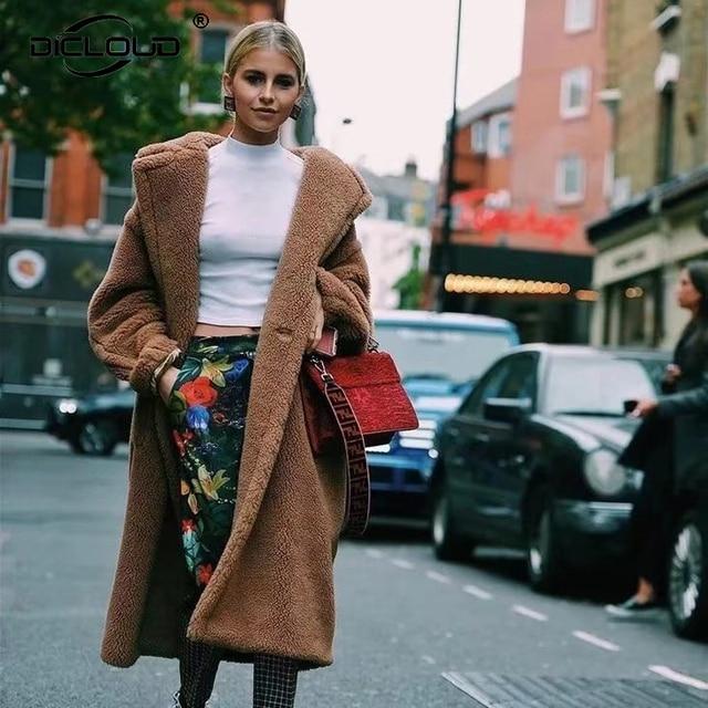 9b15550a76e4 Oversized Teddy Coat Women Extra Long Faux Fur Coats Jackets Women Winter  Overcoats 2018 Winter Thicken