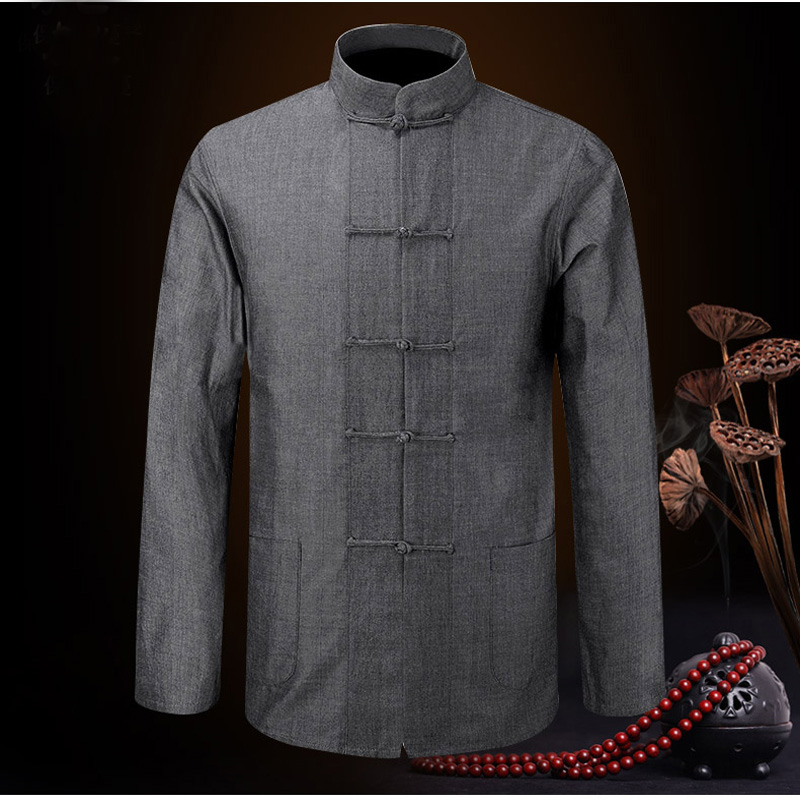 100% Cotton Brand New Arrival Chinese Men's Solid Kung Fu Jackets Coats Outerwear S M L XL XXL 3XL M070801