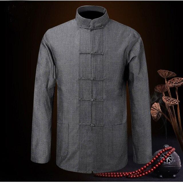 sólido marca abrigos de chinos es chaquetas hombres 100 nueva algodón Fu Kung los llegada fwnnzg5q