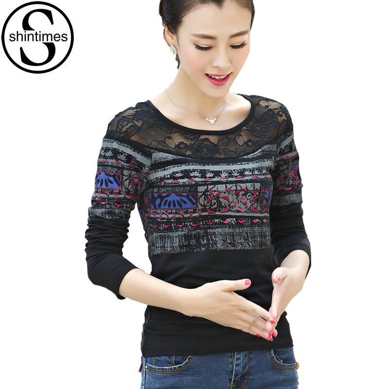 Poleras De Mujer Moda 2018 Lace T-Shirt Women Tshirt Korean Clothes T-Shirt Womens Long Sleeve Tops Tee Shirt Femme Plus Size