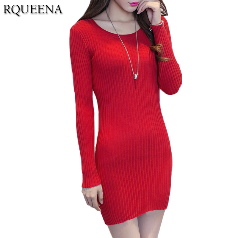 Rqueena 2017 Fashion Winter Autumn Dress Casual Women Pullover Long Sleeve Autumn Dresses O Neck Bodycon Knitted Sweater Dress v neck layered long sleeve pullover sweater