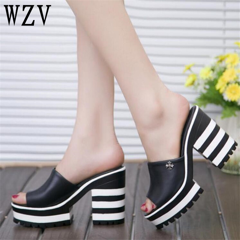 New Summer 2018 Women Sandals flat slippers Flip Flops Open Toe Slides Female Fashion Black white Dot pattern Sandals woman C292 new 2017 fashion women sandals summer style wedges women s sandals platform black slippers flip flops open toe high heeled