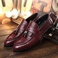 Los hombres ocasionales de cocodrilo patrón de la borla de la marca de moda de alta-extremo puntiagudo conjuntos de pie de los hombres zapatos de cuero