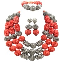 Luxury Pink Artificial Coral Nigerian Beads Jewelry Set Traditional African Wedding Bridal Statement Necklace Set Dubai ACB 19