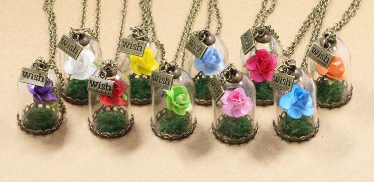 HTB1tW8XQFXXXXajaXXXq6xXFXXXy - 1PC jewelry Beauty and the Beast Necklace Wish Rose Flower in Glasses Pendant Necklace PTC 198