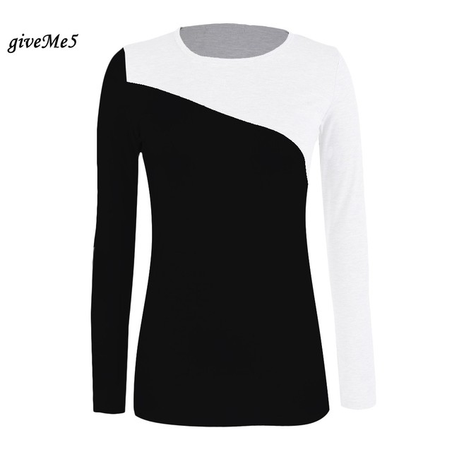 9a7c238c Free Shipping Women's T Shirt Splice Casual Round Neck Mixed Long Sleeve T- Shirt 4