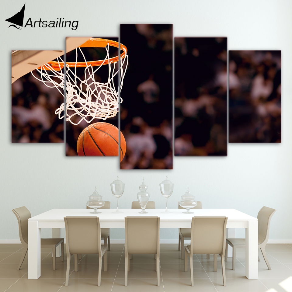 HD Printed 5 Piece Canvas Art Basketball Circle Painting Ball Game Wall Pictures for Living Room
