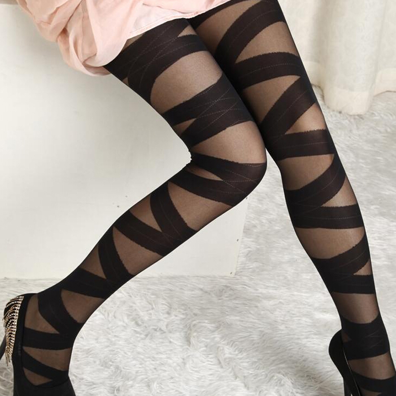 Sexy Women Goth Rocker Cross Bandage Straps Pants Pantyhose Tights Stockings Hot Item Hot