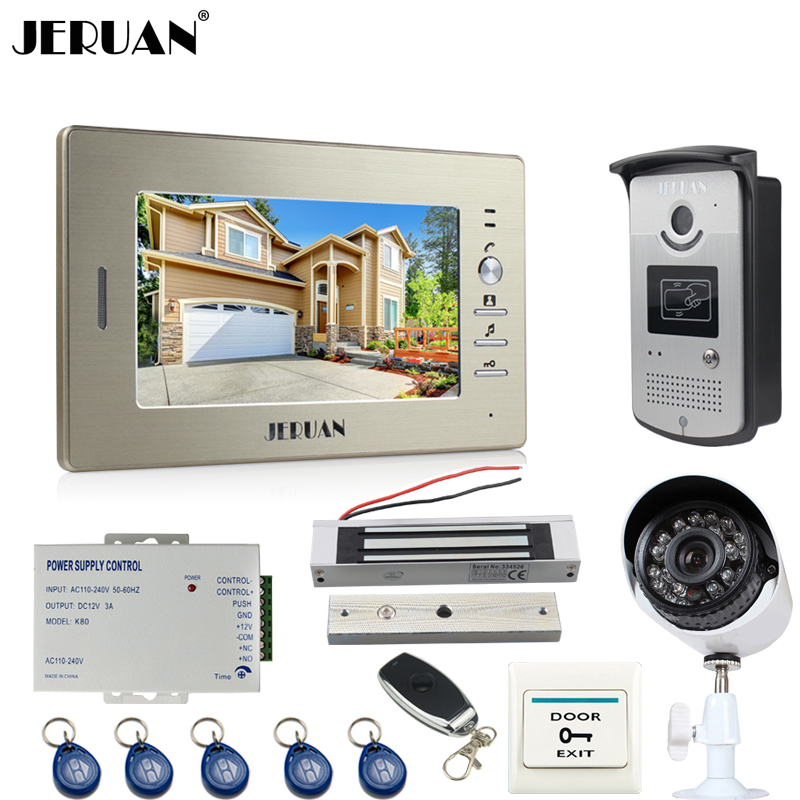 JERUAN NEW 7``Video Door Phone Intercom System kit RFID Access Camera+700TVL Analog Camera+remote control+E-lock+Exit button jeruan apartment 4 3 video door phone intercom system kit 2 monitor hd camera rfid entry access control 2 remote control