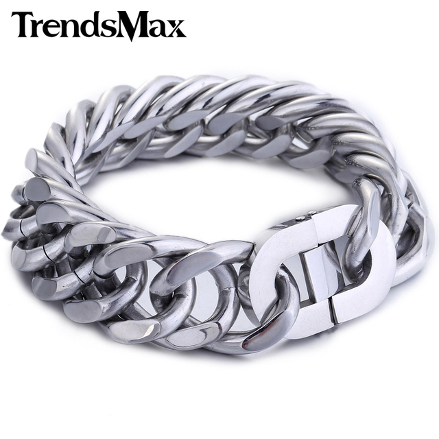 Trendsmax 18/19/22mm Cut Double Curb Cuban Link Rombo Silver Color 316L Stainless Steel Bracelet Mens Chain Boys HB286-HB288