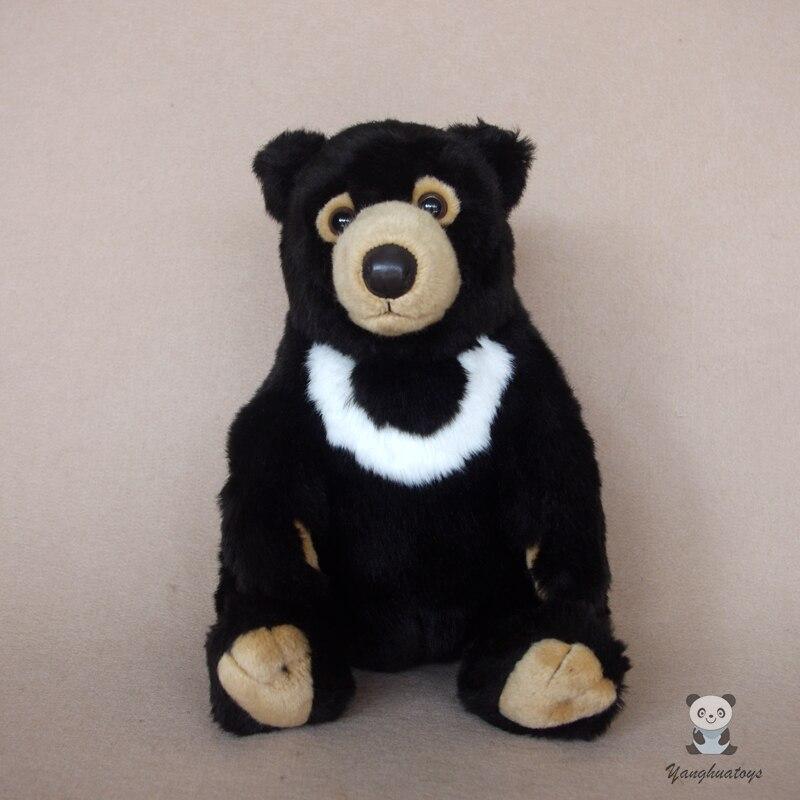 Vraie vie en peluche ours noir jouet Ursus Thibetanus poupées jouets cadeaux d'anniversaire et de vacances